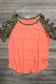 On the Prowl Cold Shoulder Top with Accent Leopard Cutout Sleeve in Multiple Colors - Sizes 4-20