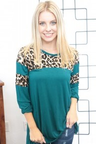 Not Too Late Leopard Colorblock Top in Teal - Sizes 4-20