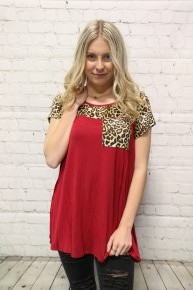 Freedom Falling Leopard Contrast Top With Accented Pocket In Wine - Sizes 4-10