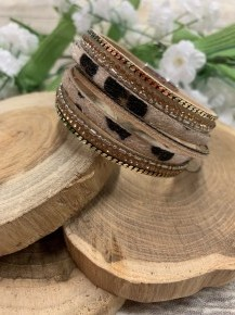 Wild Life Multi Strand Leopard Magnetic Bracelet