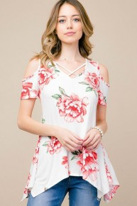 Heaven's Touch Floral Open Shoulder Top in White - Sizes 12-20