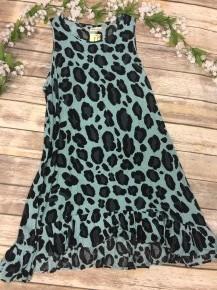 The Most Comfy Leopard Sundress in Aqua - Sizes 4-20