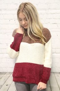 Meant To Be Yours Color Block Turtle Neck Sweater In Mocha Sizes 4-20