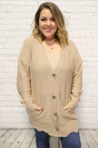 Trust With All Your Heart Camel Cardigan With Scalloped Hem - Sizes 4-18