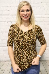 Wild About You Short Sleeve Leopard  V-Neck Top - Sizes 4-12