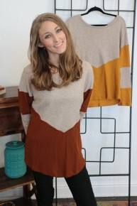 Gonna Roll with It Mocha Color Block Sweater- Multiple Colors- Sizes 4-20