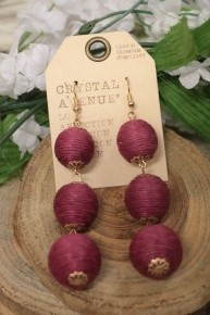This Is It Three Tiered Ball Earrings In Fuchsia
