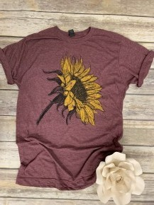 Sun In The Sky Sunflower Graphic Tee In Heathered Plum - Sizes 4-18
