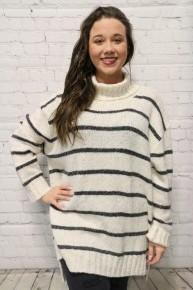 Keri's Favorite Knit Striped Turtleneck Sweater In Oatmeal - Sizes 12-20