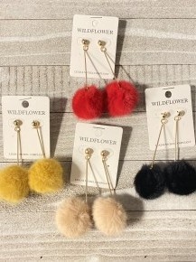 I Still Believe Gold Bar And Puff Earrings In Multiple Colors