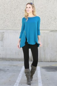 Into Your Loving Arms 3/4 Sleeve Top With Button Detail - Multiple Colors - Sizes 12-20