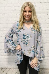 Roll The Window Down Floral Top with Bell Sleeves in Powder Blue - Sizes 4-20