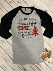 Its The Most Wonderful Time Of The Year Gray And Black Raglan- Sizes 4-20