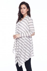 Mine Forever Striped Waterfall Cardigan With Suede Elbow Patch In Gray- Sizes 12-20