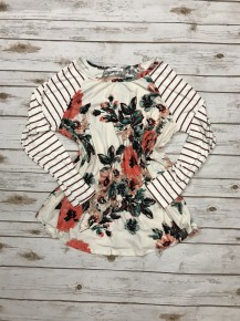 Now or Never Floral Top with Stripped Accent Sleeves Sizes 12-20