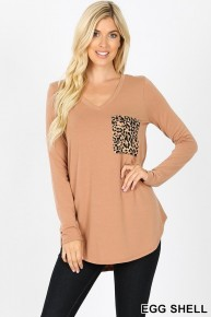 Whose Up There Long Sleeve V-Neck With Leopard Pocket - Sizes 4-20
