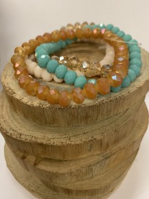 Fire In My Soul Four Stranded Beaded Bracelet In Turquoise/Gold