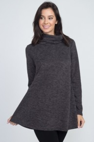 Cowl Neck Long Sleeve Two Tone Sweater -Multiple Colors - Sizes 12-20