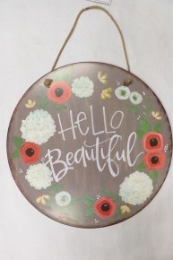 Hello Beautiful Floral Hanging Sign