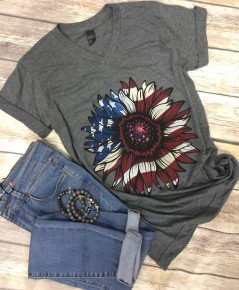 SunFlower American Style Graphic Tee In Charcoal - Sizes 4-20