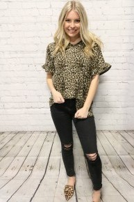 Anticipating Excitement Leopard Top with Ruffle Sleeves - Sizes 4-20