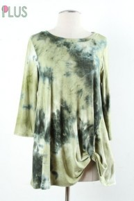 We Are Together Tie-Dye 3/4 Sleeve Top With Knotted Hem -Multiple Colors- Sizes 12-20
