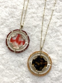 Ring Around A Rosie Medallion Long Necklace - Multiple Colors