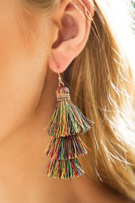 Tilly Tilly Three Tiered Tassel Earrings - Multiple Colors