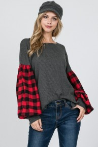 Only If You Decide Waffle Knit With Buffalo Plaid Contrast Sleeve In Charcoal - Sizes 4-20