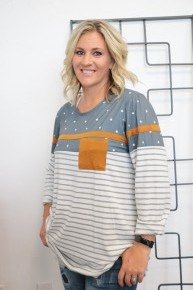 Taking It Slow Polka Dot & Striped Top in Gray - Sizes 4-20