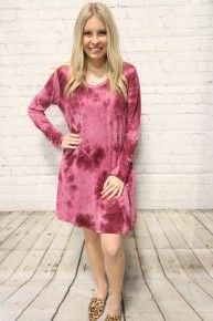 Love is the Reason Long Sleeve Mineral Wash Dress in Multiple Colors-Sizes 4-10