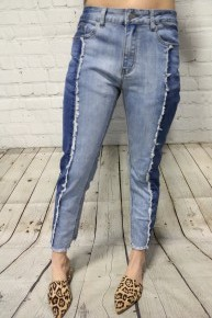 The Reegan Two Tone Denim Skinny Jeans With Frayed Hem - Sizes 12-20