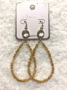Sunkissed By You Teardrop Beaded Earrings With Circle Accent  In Mustard