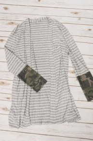 Change It Up Striped & Camo Cardigan In Gray - Sizes 12-20