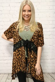 Mercy Has Just Begun Leopard Short Sleeve Top With Tie Front- Multiple Colors - Size 4-10