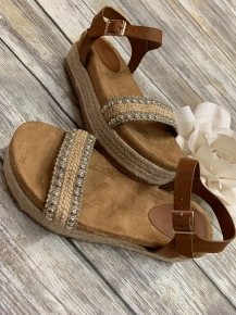 Paradise Awaits You Espadrille Sandal With Beaded Strap In Brown