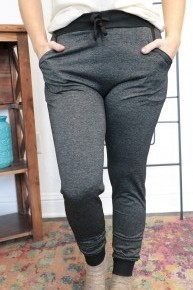 Oh How He Loves Us Heathered Two Tones Joggers In Black - Sizes 4-12