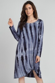 Keep Driving Home Tie-Dye Dress With Knotted Hem In Blue - Sizes 4-20