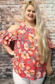 Isn't She Lovely Coral Floral Open Sleeve with Ruffles -Sizes 12-20