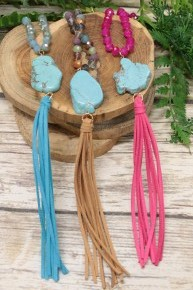 Born To Love Beaded Necklace With Pendant And Tassel In Multiple Colors