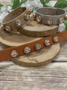 Day To Night Leather Strap Bracelet with Rhinestones In Multiple Colors