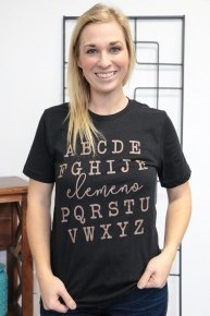 Funny Alphabet Black Graphic Tee with Rose Gold Writing Sizes 4-10