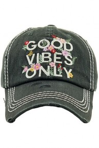 Good Vibes Only Floral Distressed Ballcap in Charcoal - One Size