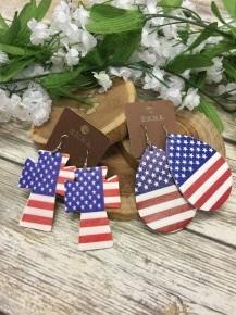 Living in America Leather Earrings