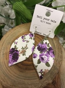 Tell Your Tale Purple Floral Leather Earrings
