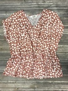 Waiting For You Animal Print Peplum Top in Cinnamon - Sizes 4-20
