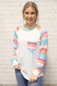 Time To Move On Multicolor Striped Raglan With Ivory Body- Sizes 4-12