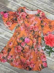 Do Everything With Love Floral Dress With Bell Sleeves In Orange - Sizes 12-20