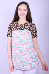 It's A Beautiful Day Floral Top With Leopard Detail - Sizes 4-20