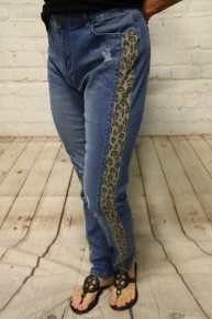 The Maggie Distressed Jeans with Leopard Accent - Sizes 4-20